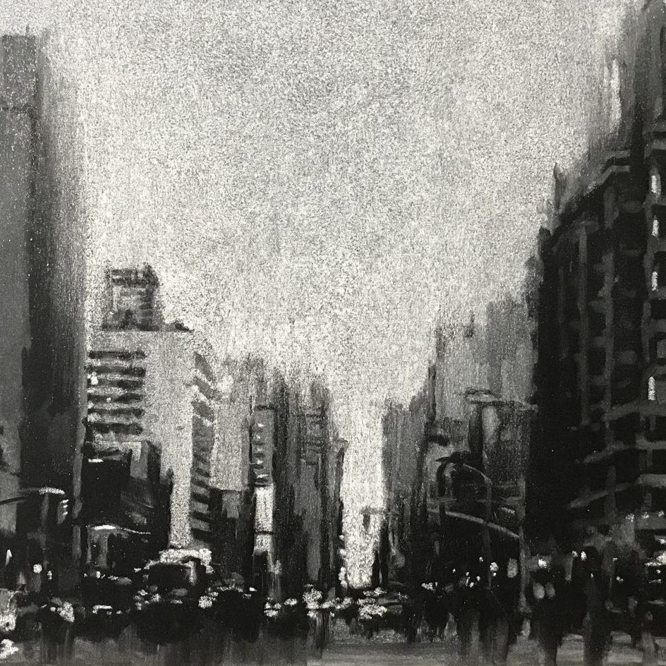 「NYC 2018」A4 / 黒板,白チョーク